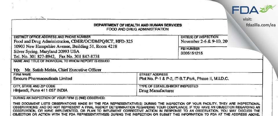 Emcure Pharmaceuticals FDA inspection 483 Nov 2009