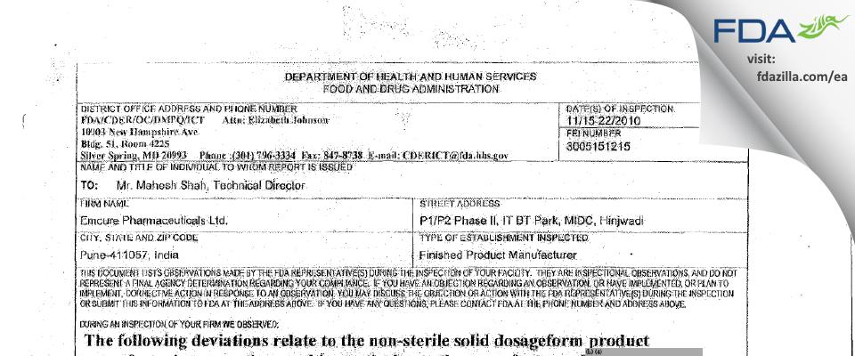 Emcure Pharmaceuticals FDA inspection 483 Nov 2010