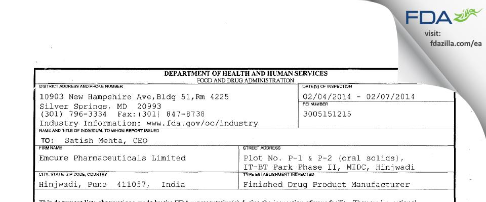 Emcure Pharmaceuticals FDA inspection 483 Feb 2014