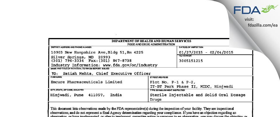 Emcure Pharmaceuticals FDA inspection 483 Feb 2015