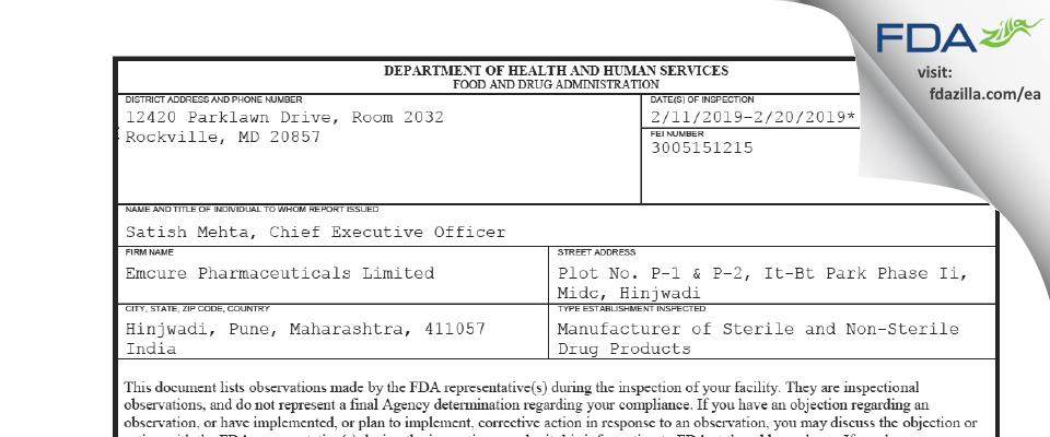 Emcure Pharmaceuticals FDA inspection 483 Feb 2019
