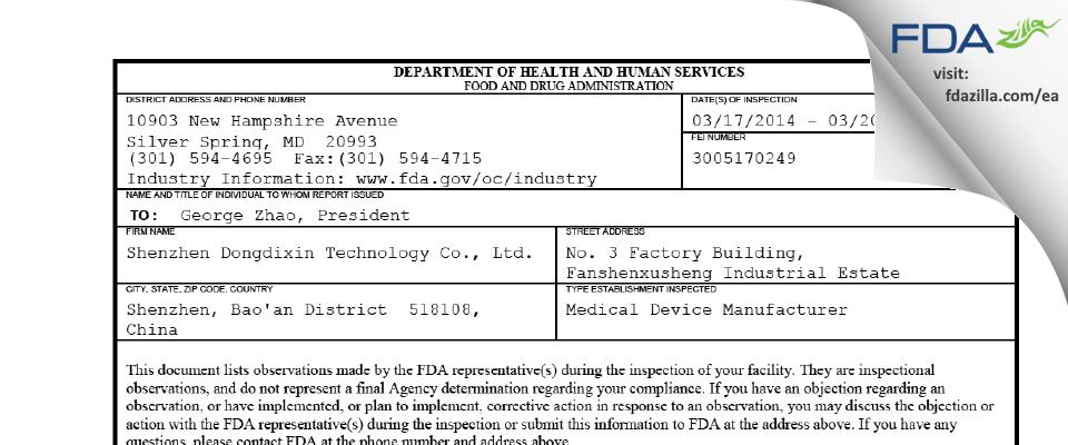 Shenzhen Dongdixin Technology FDA inspection 483 Mar 2014