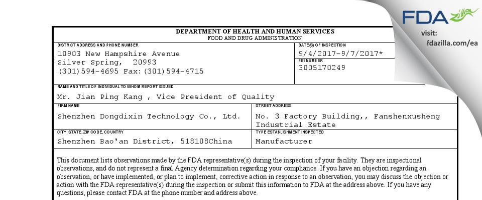 Shenzhen Dongdixin Technology FDA inspection 483 Sep 2017