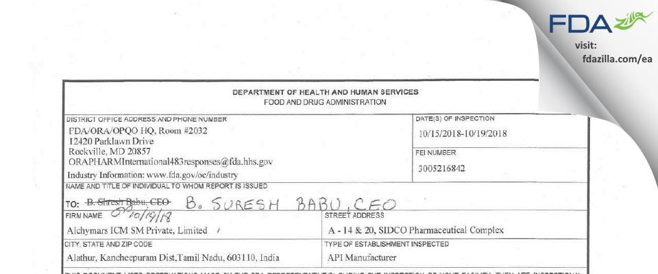 Alchymars ICM SM Private FDA inspection 483 Oct 2018