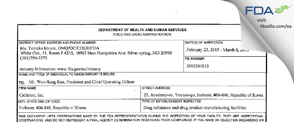 Celltrion FDA inspection 483 Mar 2015