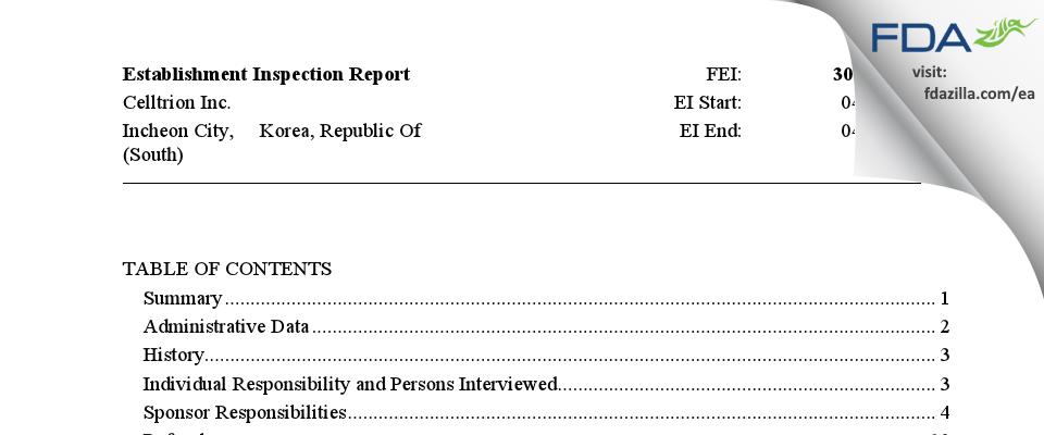 Celltrion FDA inspection 483 Apr 2015