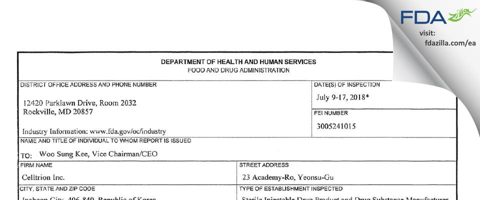 Celltrion FDA inspection 483 Jul 2018
