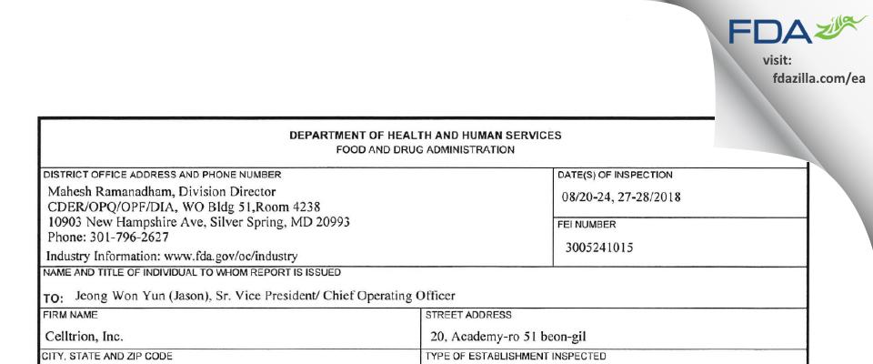 Celltrion FDA inspection 483 Aug 2018