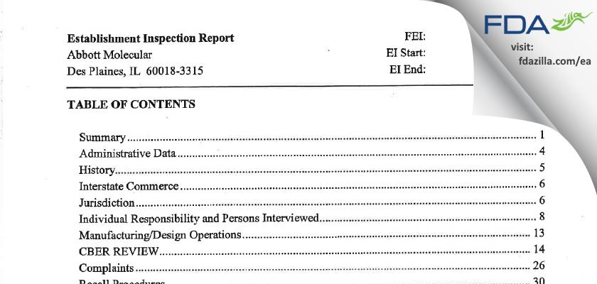 Abbott Molecular FDA inspection 483 Feb 2007