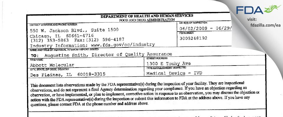 Abbott Molecular FDA inspection 483 Jun 2009
