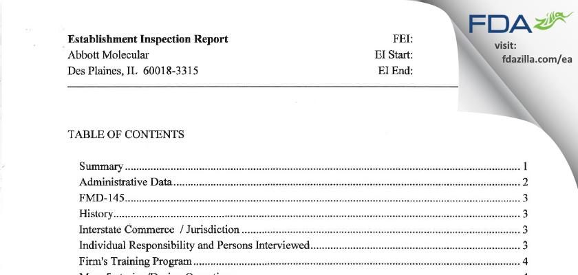 Abbott Molecular FDA inspection 483 Mar 2010
