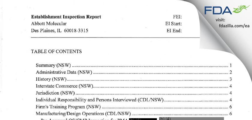 Abbott Molecular FDA inspection 483 May 2011