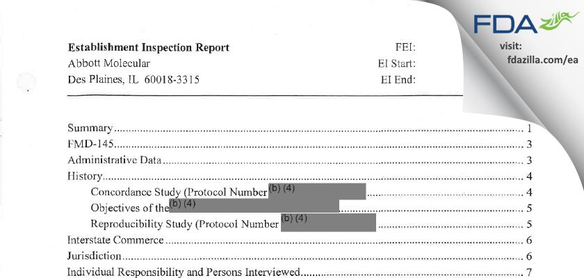 Abbott Molecular FDA inspection 483 Jun 2011