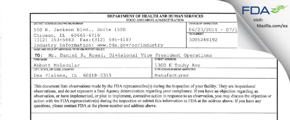 Abbott Molecular FDA inspection 483 Jul 2014
