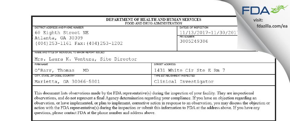 O'Barr, Thomas   MD FDA inspection 483 Nov 2017