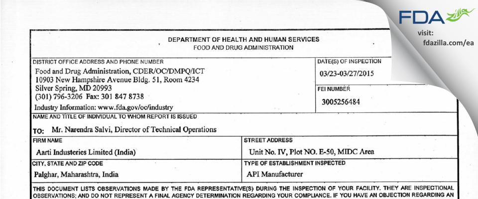 Aarti Industries FDA inspection 483 Mar 2015