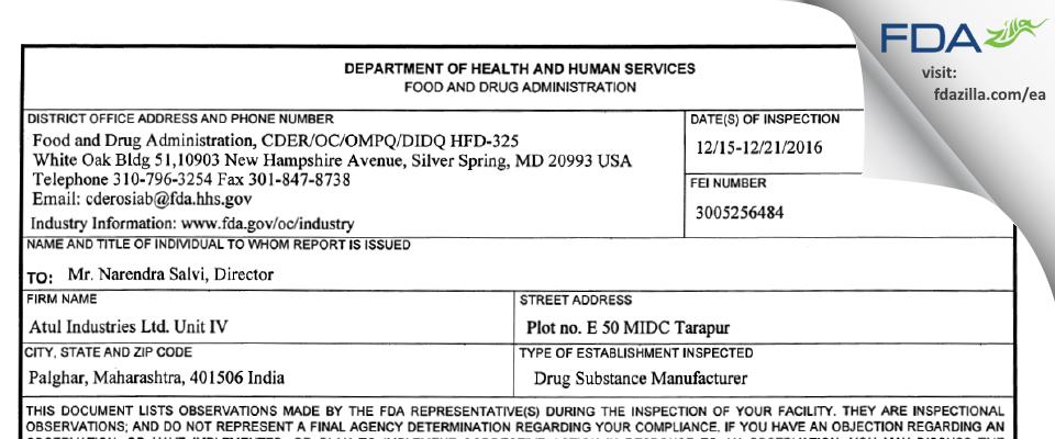 Aarti Industries FDA inspection 483 Dec 2016