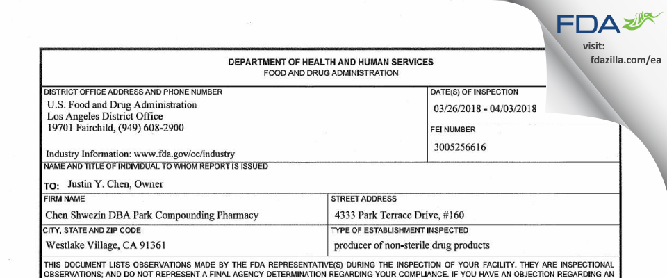 Chen Shwezin dba Park Compounding Pharmacy FDA inspection 483 Apr 2018
