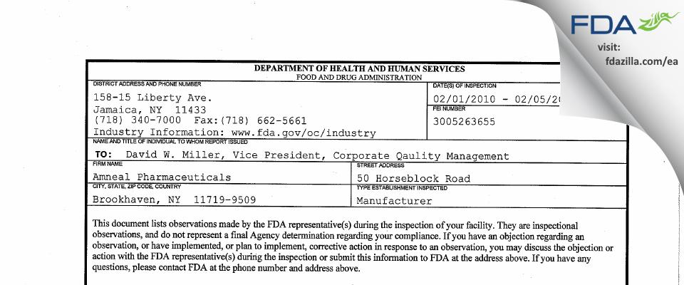 Amneal Pharmaceuticals FDA inspection 483 Feb 2010
