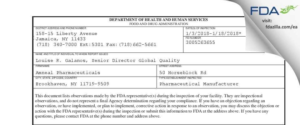 Amneal Pharmaceuticals FDA inspection 483 Jan 2018