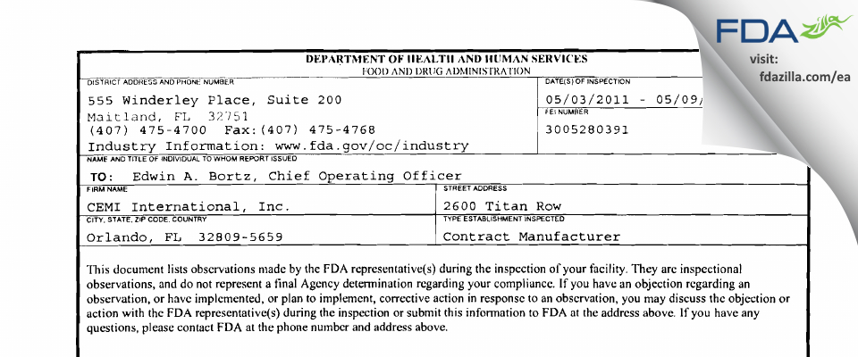 CEMI International FDA inspection 483 May 2011