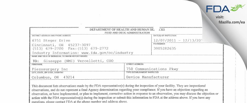 Piezosurgery FDA inspection 483 Dec 2011