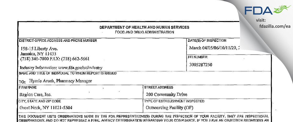 Region Care FDA inspection 483 Mar 2014