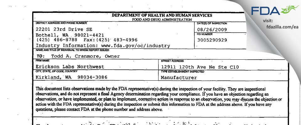 Erickson Labs Northwest FDA inspection 483 Aug 2009