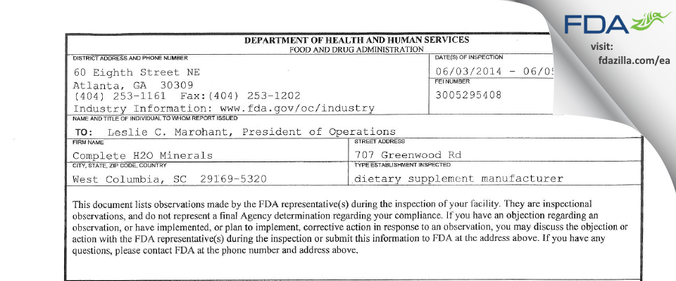 Complete H2O Minerals FDA inspection 483 Jun 2014