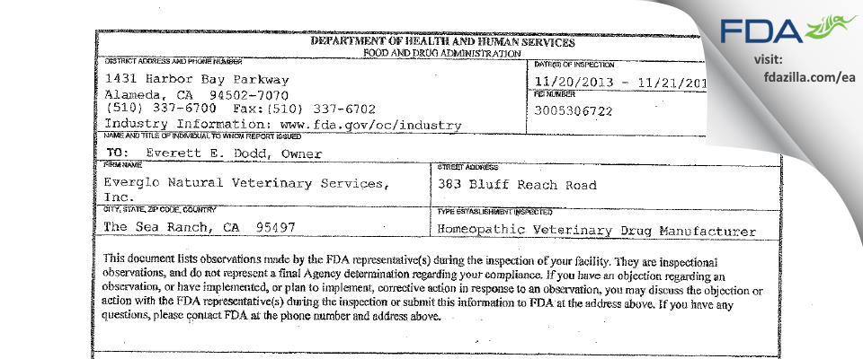 Everglo Natural Veterinary Services FDA inspection 483 Nov 2013