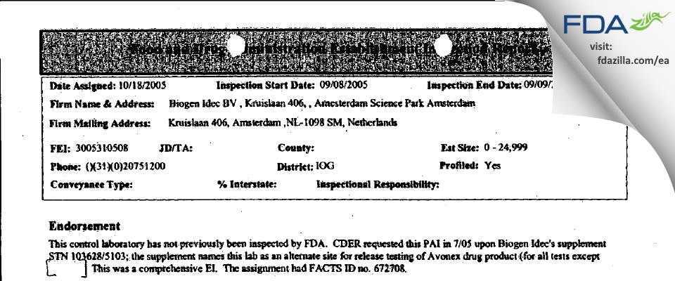 Biogen Idec BV FDA inspection 483 Sep 2005