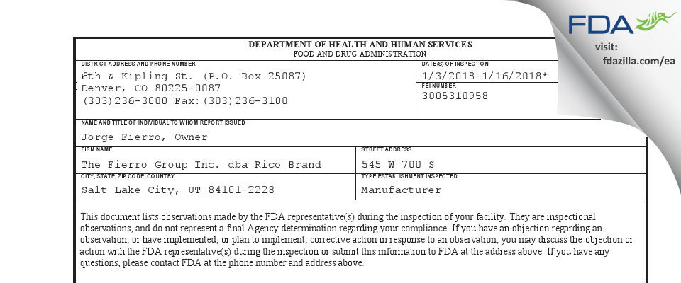 The Fierro Group dba Rico Brand FDA inspection 483 Jan 2018