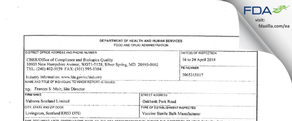 Valneva Scotland FDA inspection 483 Apr 2018