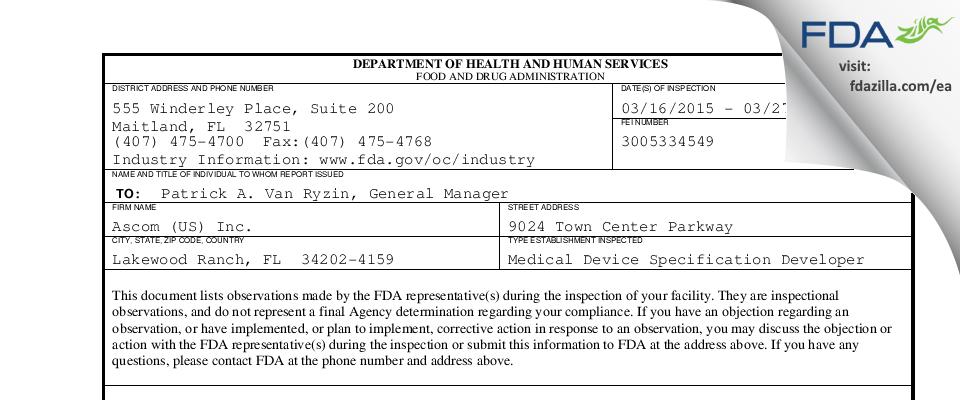 Ascom (US) FDA inspection 483 Mar 2015