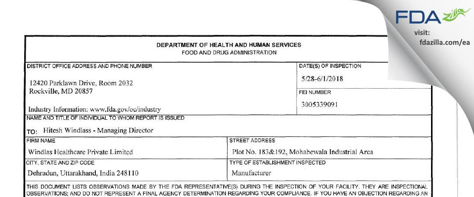 Windlas Healthcare Private FDA inspection 483 Jun 2018
