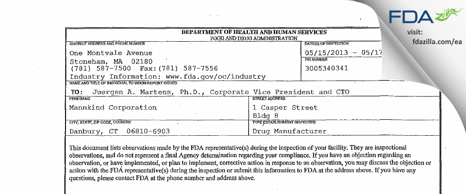 MannKind FDA inspection 483 May 2013