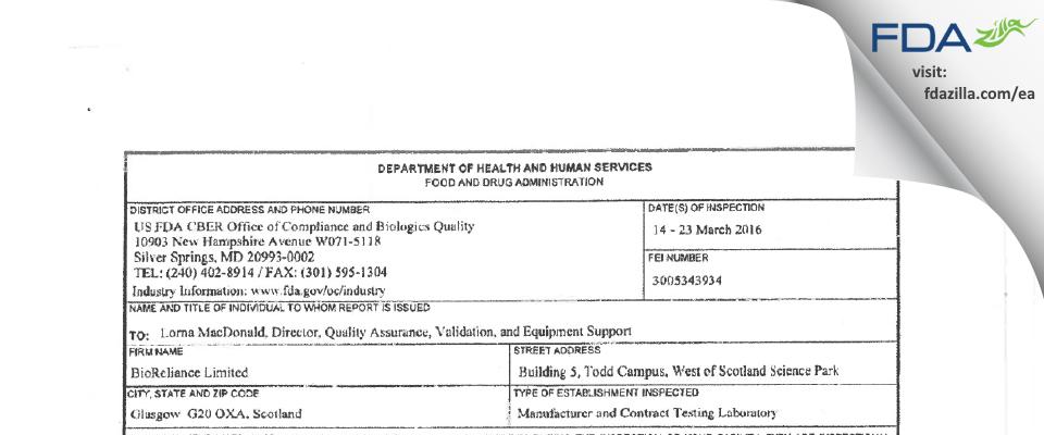 BioReliance FDA inspection 483 Mar 2016