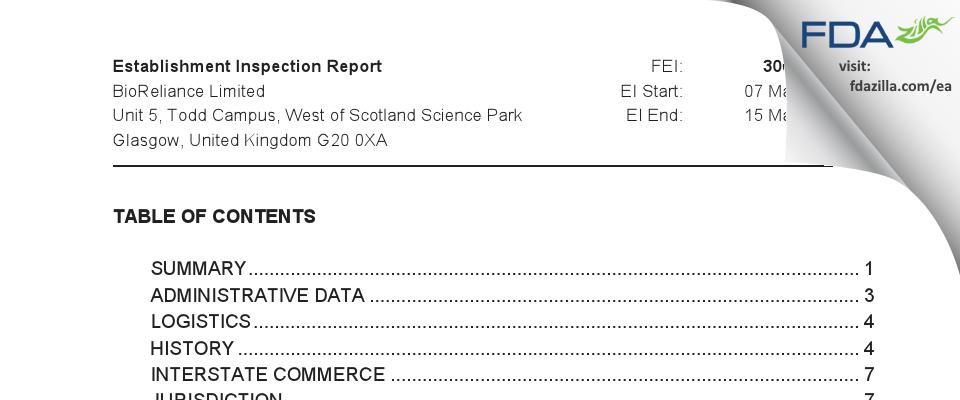 BioReliance FDA inspection 483 Mar 2019