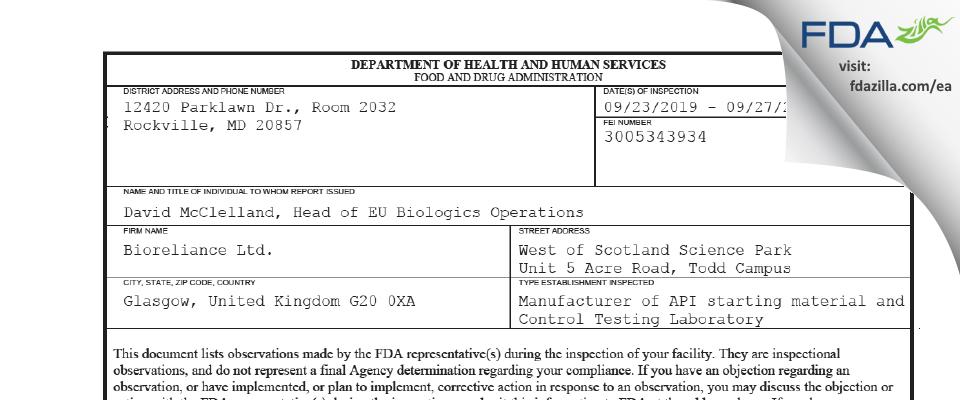 BioReliance FDA inspection 483 Sep 2019
