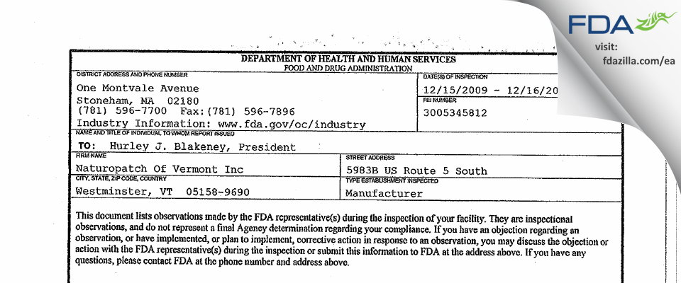 Natural Patches of Vermont FDA inspection 483 Dec 2009