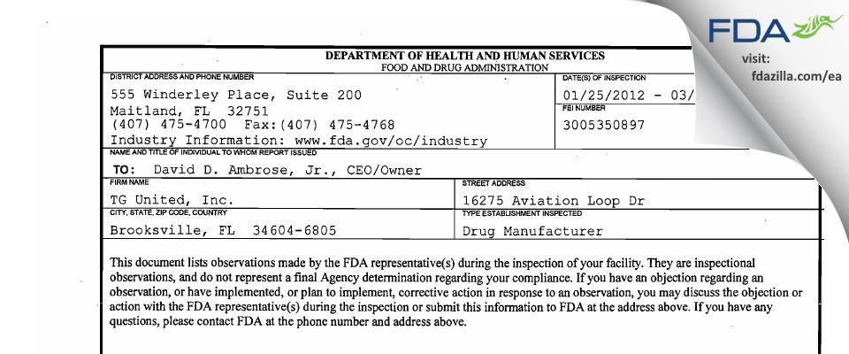 TG United FDA inspection 483 Mar 2012