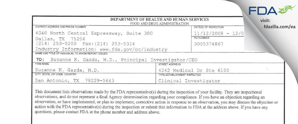 Suzanne K. Gazda, M.D. FDA inspection 483 Dec 2008