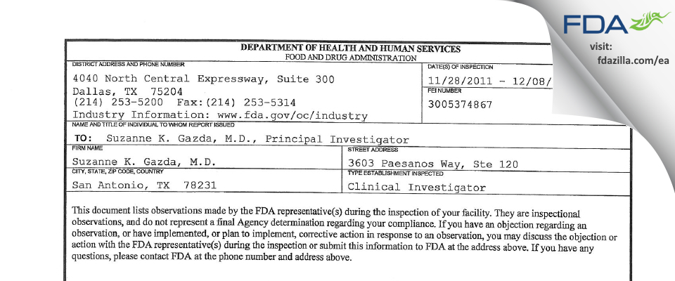 Suzanne K. Gazda, M.D. FDA inspection 483 Dec 2011