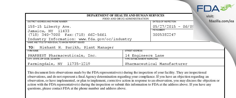 PHARBEST Pharmaceuticals FDA inspection 483 Jun 2015