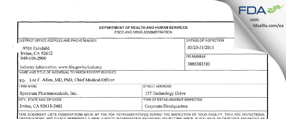 Spectrum Pharmaceuticals FDA inspection 483 Mar 2015