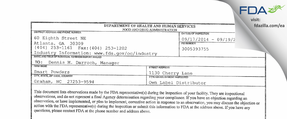 Smartpowders FDA inspection 483 Sep 2014
