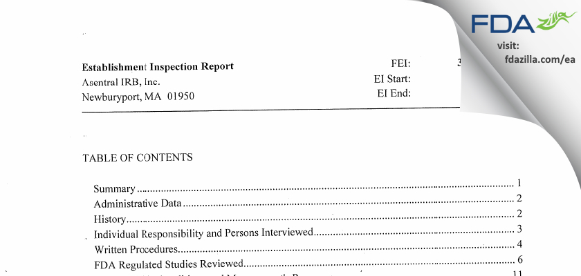 Asentral IRB FDA inspection 483 May 2013