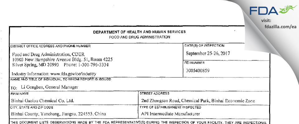 Binhai Gaolou Chemical FDA inspection 483 Sep 2017