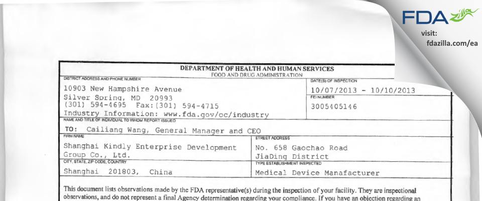 Shanghai Kindly Enterprise Development Group FDA inspection 483 Oct 2013