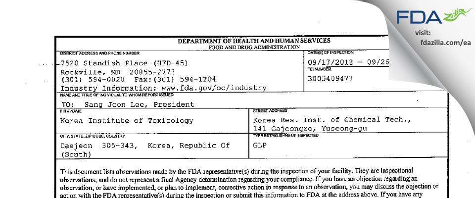 Korea Institute of Toxicology FDA inspection 483 Sep 2012